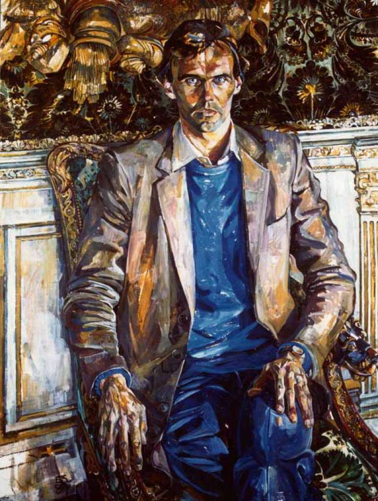 Image No: Seated man, jacket, jeans, blue jumper