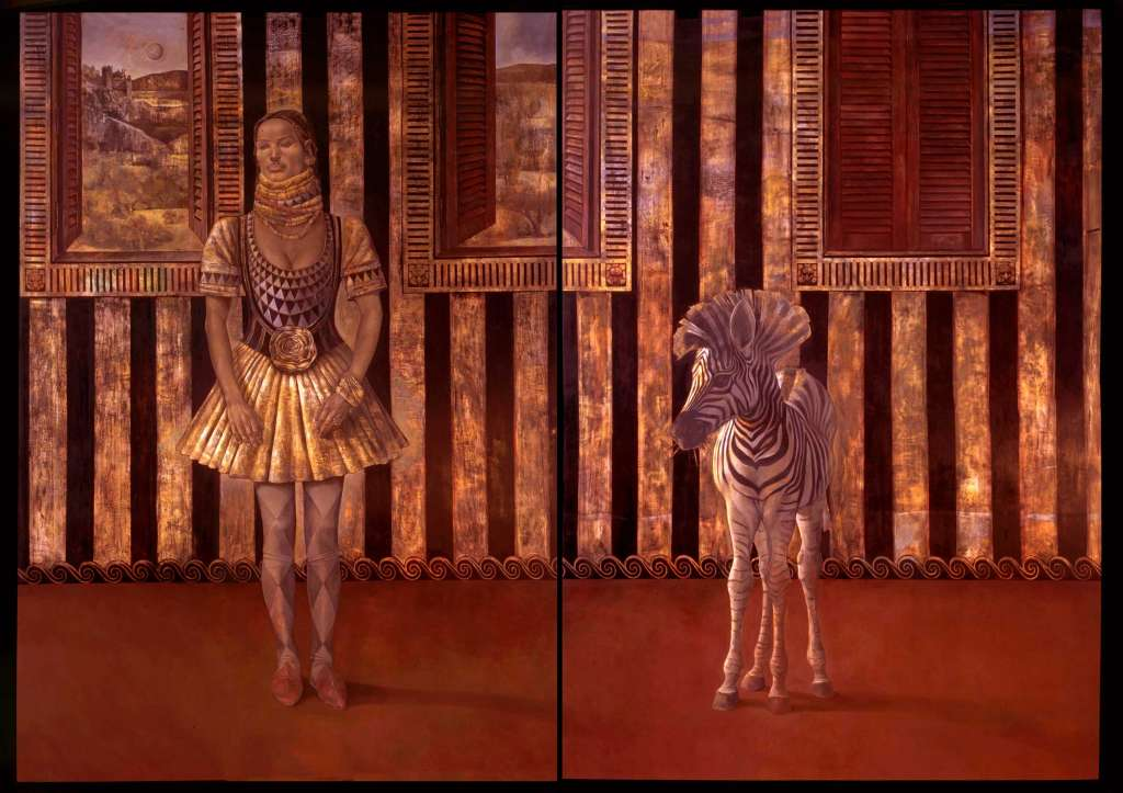 Inanna. Diptych, Oil on gessoed panel 84 x 120 inches (213 x 305 cm)